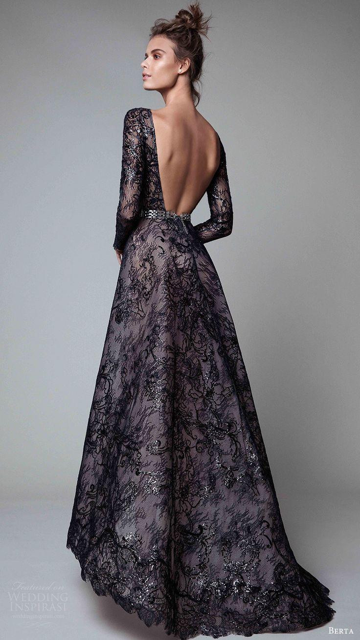 berta rtw fall 2017 (17 20) long sleeves jewel neck a line embellished evening dress black bv open back train