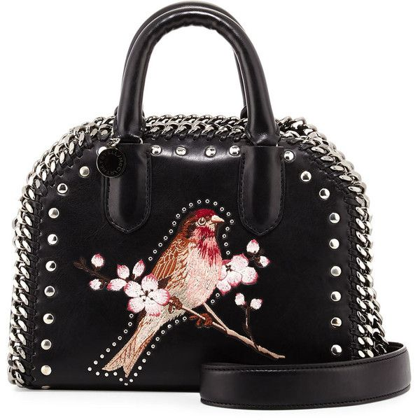 Stella Mccartney Falabella Bird Embroidered Mini Box Bag found on Polyvore featuring bags, handbags, shoulder bags, black, handbags top handle bags, top handle handbags, mini purse, man bag, studded handbags and embroidered purse