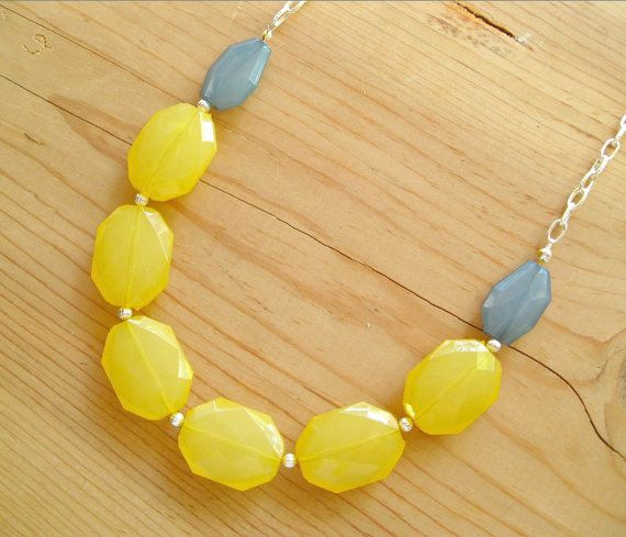 Gray  and Yellow necklace Yellow and Teal by ThatsmineBoutique, $26.00