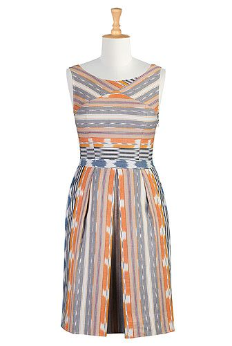 So cute. Gives me an idea for a sewing project using this ikat fabric and cutting the pieces in different directions like they have it here. Retro style ikat weave dress - eShakti