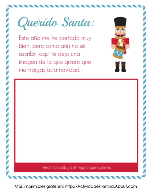 Carta a Santa con espacio para imagen (Descarga Gratis): Especial para pequeñitos que aún no escriben