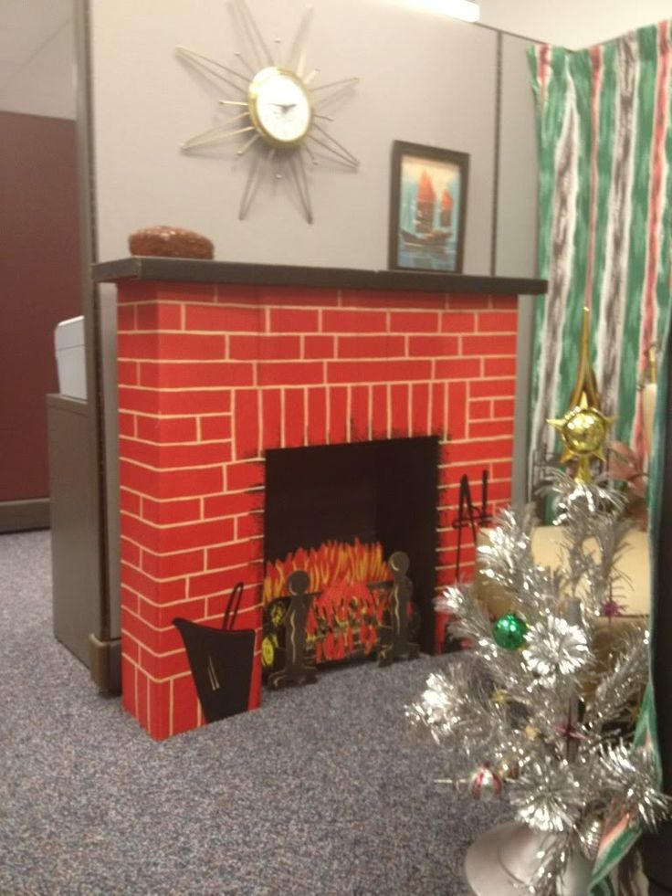 Fireplace mantel from cardboard box for Christmas | ... you know, there's an awesome fireplace addition in my office cubicle