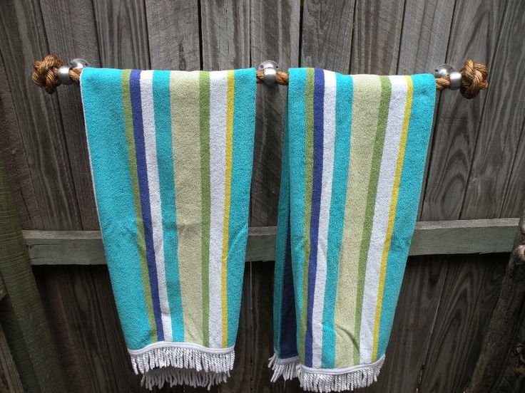 NAUTICAL TOWEL HOLDER, handmade manila rope for kitchen, bathroom, boat or outdoors undercover by JackTarsLocker on Etsy