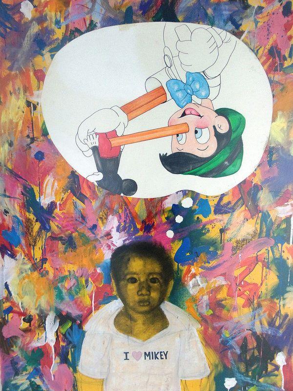 Artista: Ricardo Muñoz Izquierdo, Yo Amo A Mickey (Pinocho), Acuarela sobre papel, 123 x 105 cm, 2011 + PA  Artist: Ricardo Muñoz Izquierdo, I Love A Mickey ( Pinocchio ) , watercolor on paper , 123 x 105 cm , 2011 + PA #art #arte #contemporaryart #contemporaryworkart #pintura #paint #bac #dibujo #drawing #sculpture #escultura