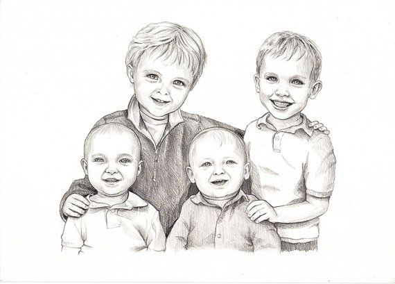 4-5 Persons Custom Pencil Portrait Drawing from by DaydreamDiaries