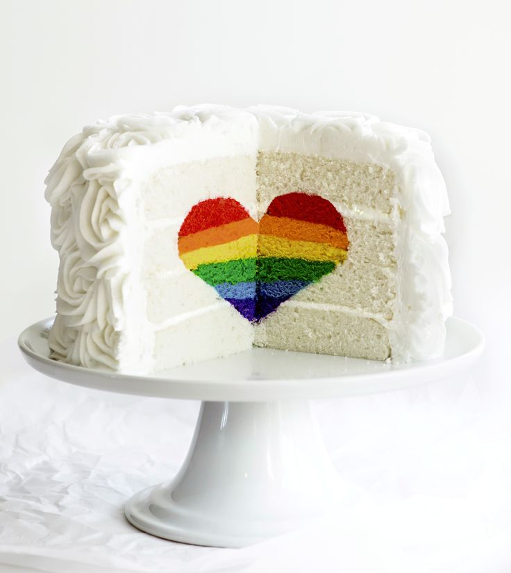 Rainbow Heart Cake For more great ideas go to www.destinationweddingcollective.com