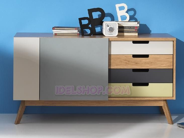 IDELSHOP.COM - Acquista Madia Buffet Credenza Colorata Ante e Cassetti