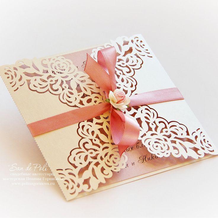 Laser Cut Custom Wedding EcoChic ivory rose shabby chic Invitations Card FREE shipping