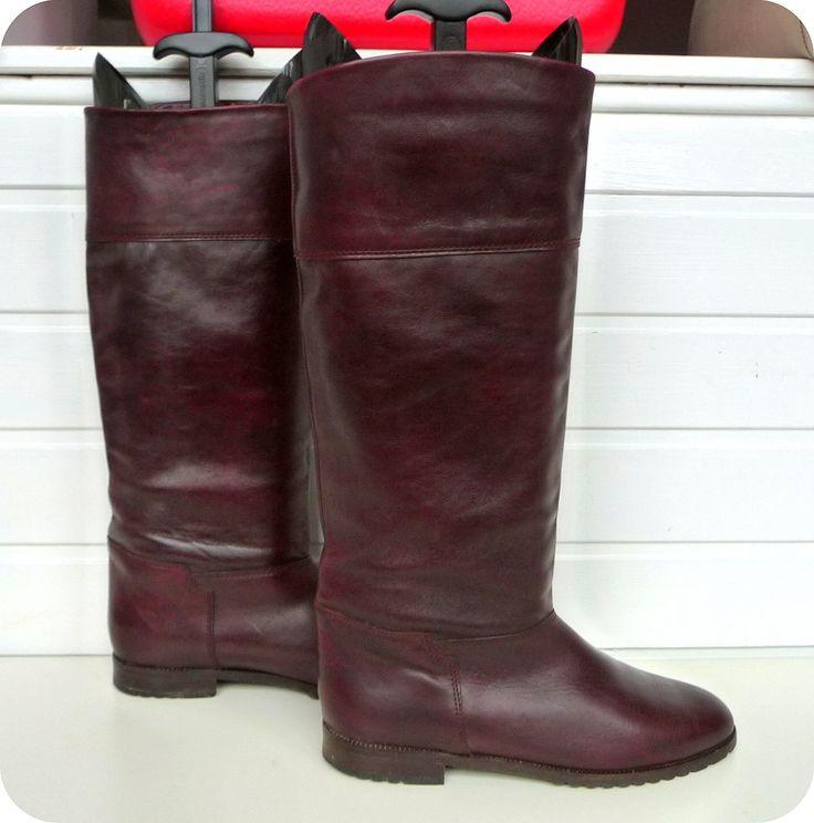 VINTAGE HUSH PUPPIES 70er Stiefel Leder Boots EU 42 UK 8 US 10,5 Reiterstiefel in Kleidung & Accessoires, Damenschuhe, Stiefel & Stiefeletten | eBay