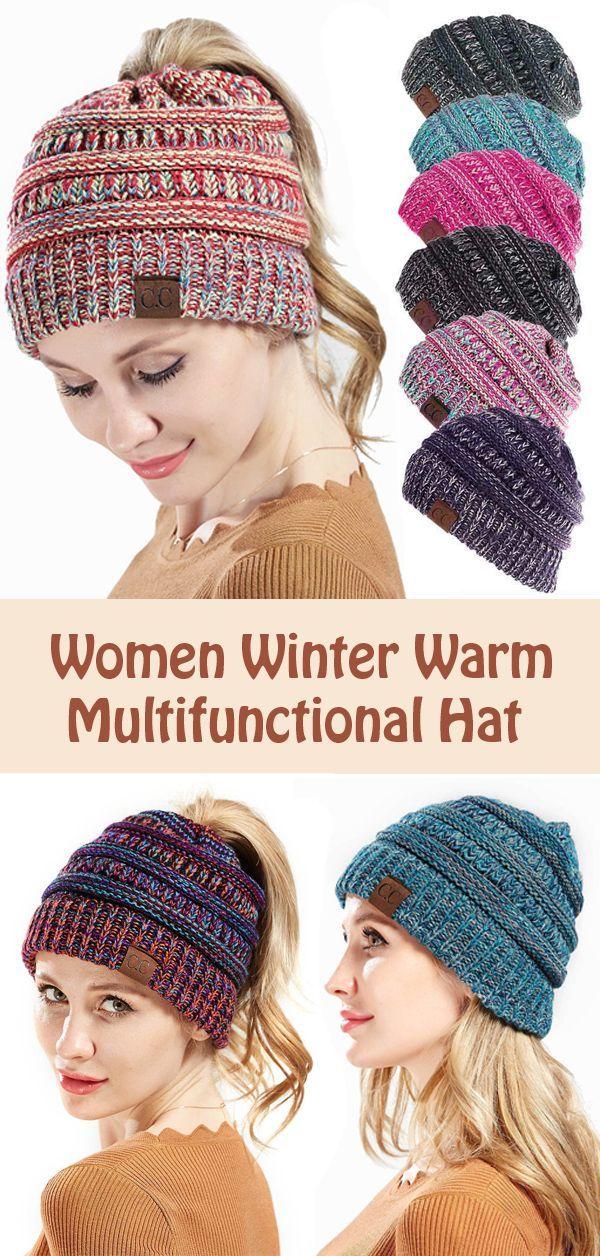 9ab3871c2 US$ 8.55】Womens Winter Messy Bun Ponytail Beanie Hat ...