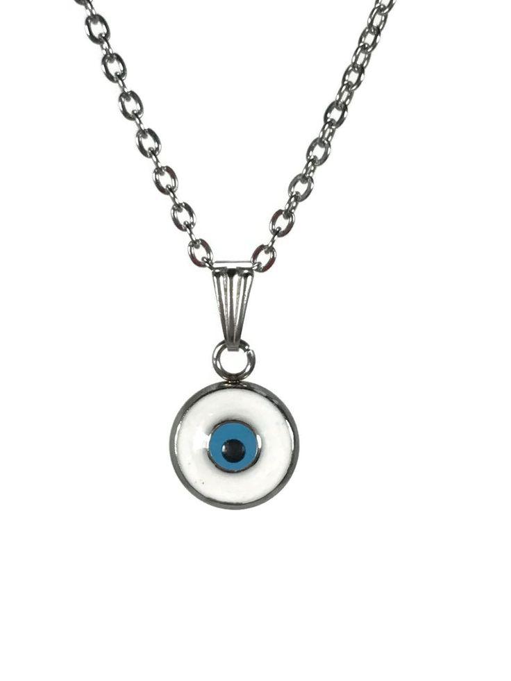 pendentif oeil blanc en acier inoxydable