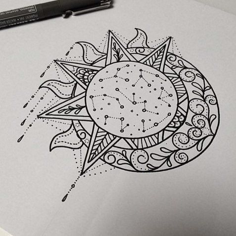the sun and the moon,sketch, outline, sketching,design