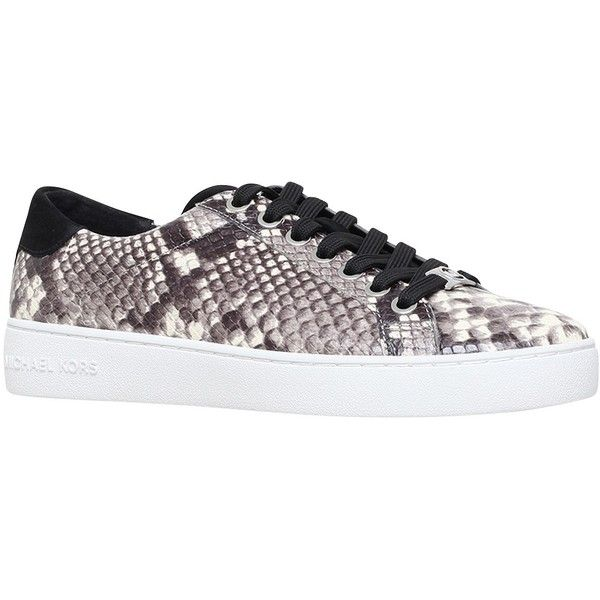 MICHAEL Michael Kors Irving Lace Up Trainers, Grey (3,040 MXN) ❤ liked on Polyvore featuring shoes, sneakers, gray sneakers, flat sneakers, canvas flat sneakers, low sneakers and lace up flat shoes
