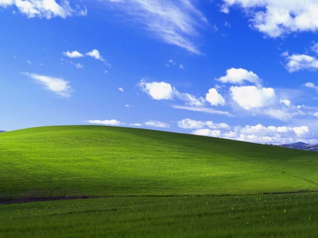 Windows XP desktop image compared to the same landscape on Google Maps...