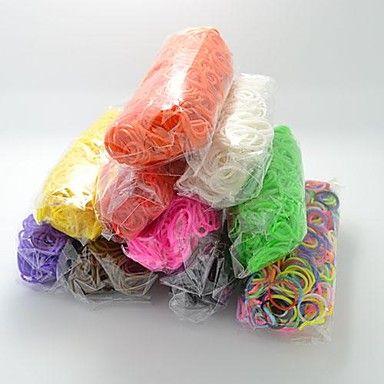 bandas de borracha de silicone bandz twistz diy pulseiras arco-íris estilo tear para crianças com 600pcs bandas e 24 s-clips – USD $ 2.99