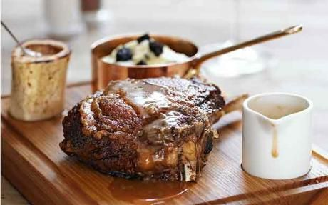 Veal chop with black-pudding mash and shallot and red-wine gravy recipe from Tom Kerridge