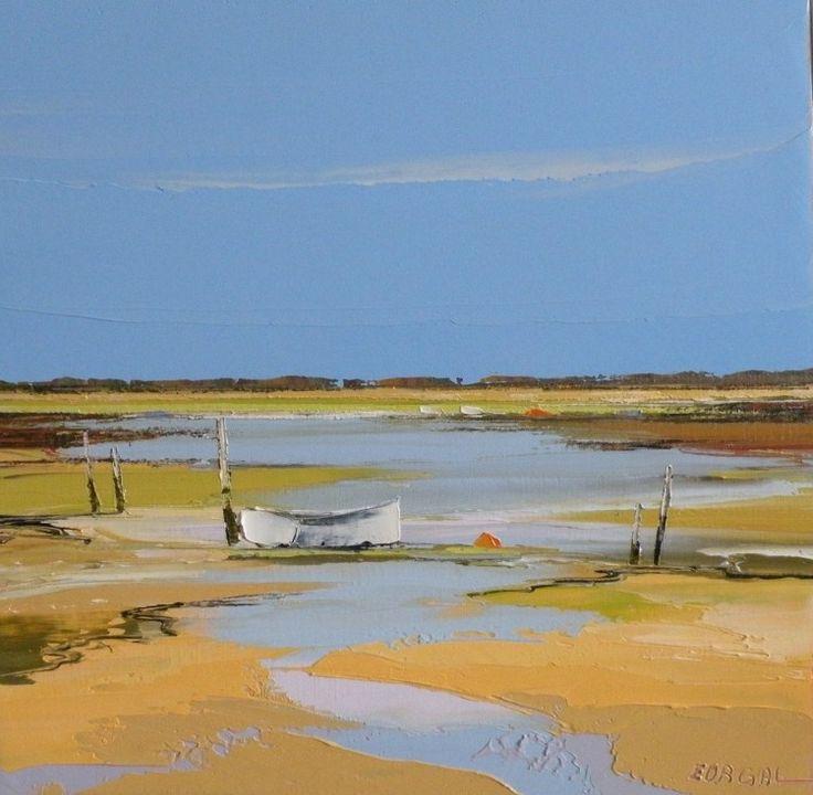 la barque blanche (Painting),  40x40 cm par Eurgal huile sur toile