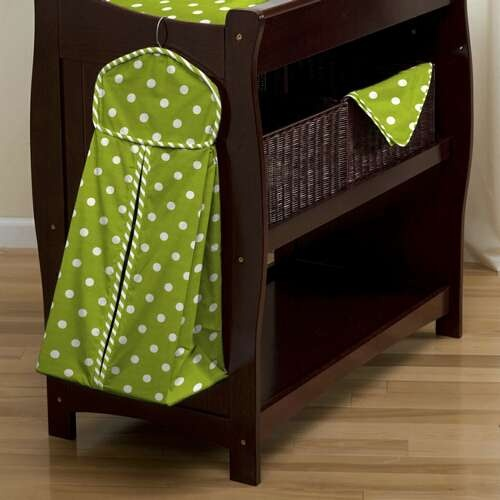 Lime and White Dots and Stripes Diaper Stacker | Carousel Designs