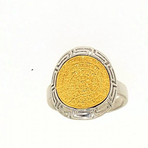 Phaistos disc golden silver meander ring greek by ThetisTreasures