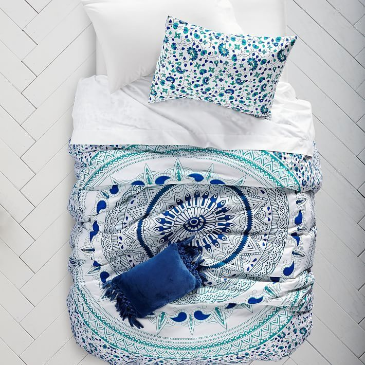 Tapestry Duvet Cover + Sham. Made of pure cotton and designed to brighten your dorm, our must-have duvet cover and sham makes your home-away-from-home perfectly yours. Plus, they're machine washable to make cleaning a breeze!