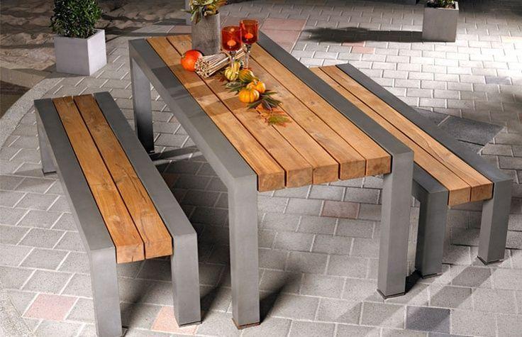 Esstisch und Bänke aus Beton und Holz ähnlich großen ...