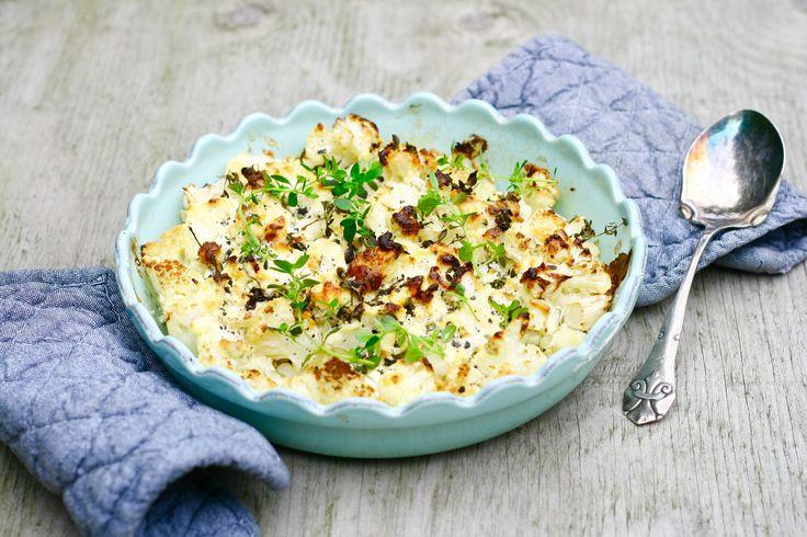 Blomkål bagt med flødeost, hvidløg og timian