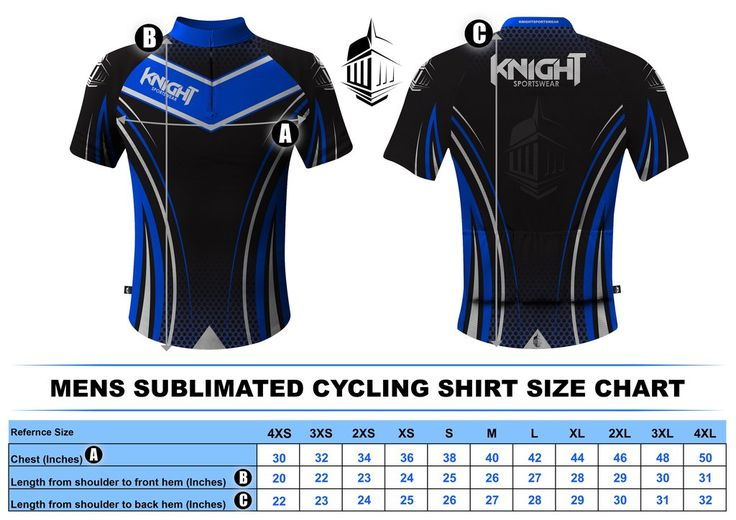 Knight Sportswear - Size Charts - Rugby- Cycling - Base Layers - Polo Shirts