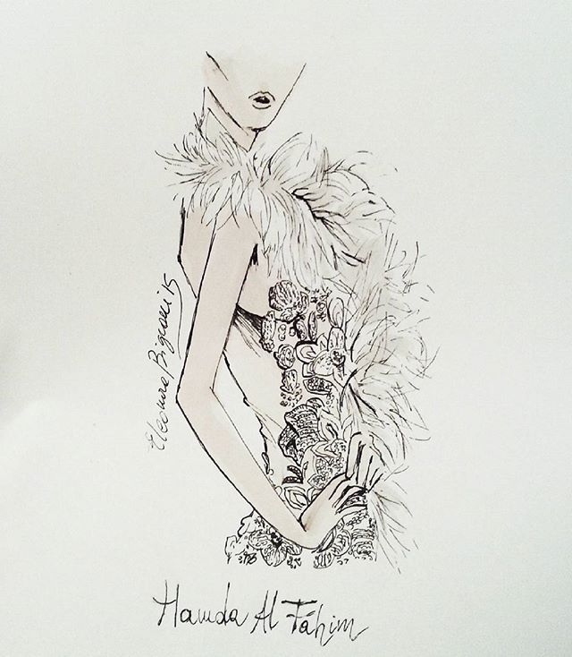 Tonight some @hamdaalfahim bridal #casabignami #hamdaalfahim #fashionillustration #fashioninsta #illustration #art #fashionblogger #fashionart #instaart #mademoiselle #weddingphotography #weddinggown #bridal #bride #wedding #weddingdress #gown #seethrough #white #christmas  #arab #myedit #myart #makeup #catwalk #hautecouture
