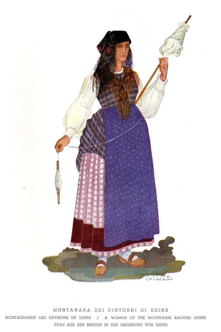 FolkCostume&Embroidery: Rhaetian costumes, part 3, Friuli or Furlan (Udine)