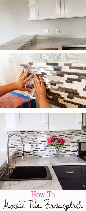 DIY Glass Mosaic Tile Backsplash - gray lower, white upper cabinets
