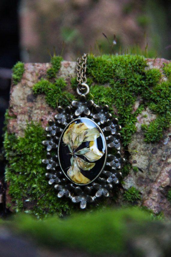 Lotus Corniculatus Resin Pendant Necklace by SabinaDragusanu