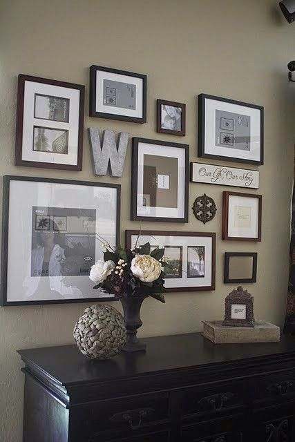 Wall gallery ideas; already started the frames on the office wall - like the added bonus pieces like an R or a saying!