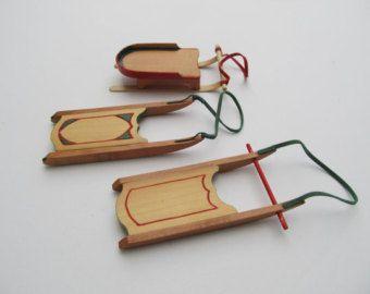 Christmas tree ornaments, set of 3 handmade mini sleighs -    Edit Listing  - Etsy