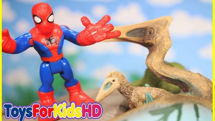 Imaginext Spiderman y Videos de Dinosaurios para niños  Juguetes de Spiderman ToysForKidsHD