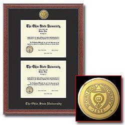 Item E6-8: 23-Karat Medallion Double Diploma Frame