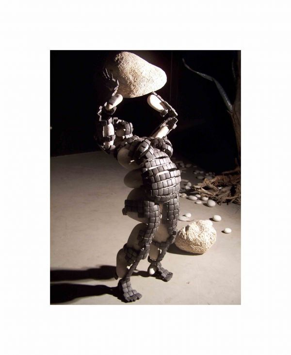 Stone and iron #sculpture by #sculptor Manuel Garcia Calderon titled: 'Venus ofGreed (figurative Semi abstract Objet Trouves statue/sculpture)'. #ManuelGarciaCalderon