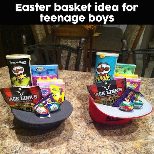 Great idea for older boys who no longer want to carry around Easter baskets! Fill up hats with some of their favorite snacks. Saving this....