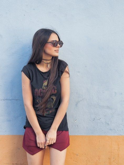 Marsala skort with band tee outfit on A Handful of Stories.