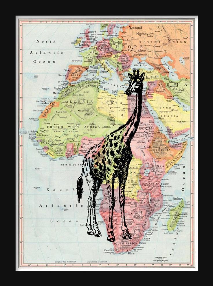 Africa Map Horn Of Africa%0A Africa Map Giraffe Print  x   Poster Print