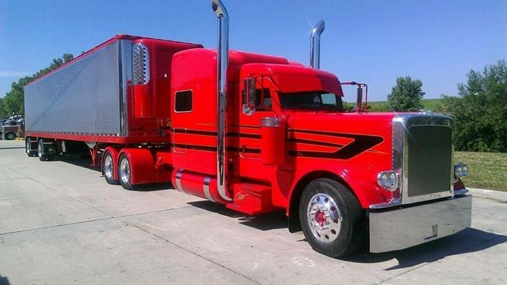 Red and black Peterbilt w/reefer