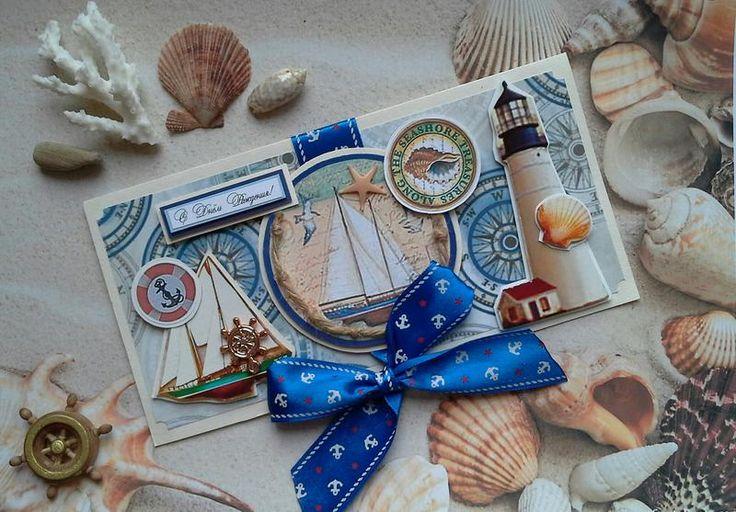 """Мужская открытка ручной работы ко Дню рождения. Отлично подойдет для подарка моряку или влюбленному в море мужчине. Размер открытки 10*20 см / 4""""*8"""""""