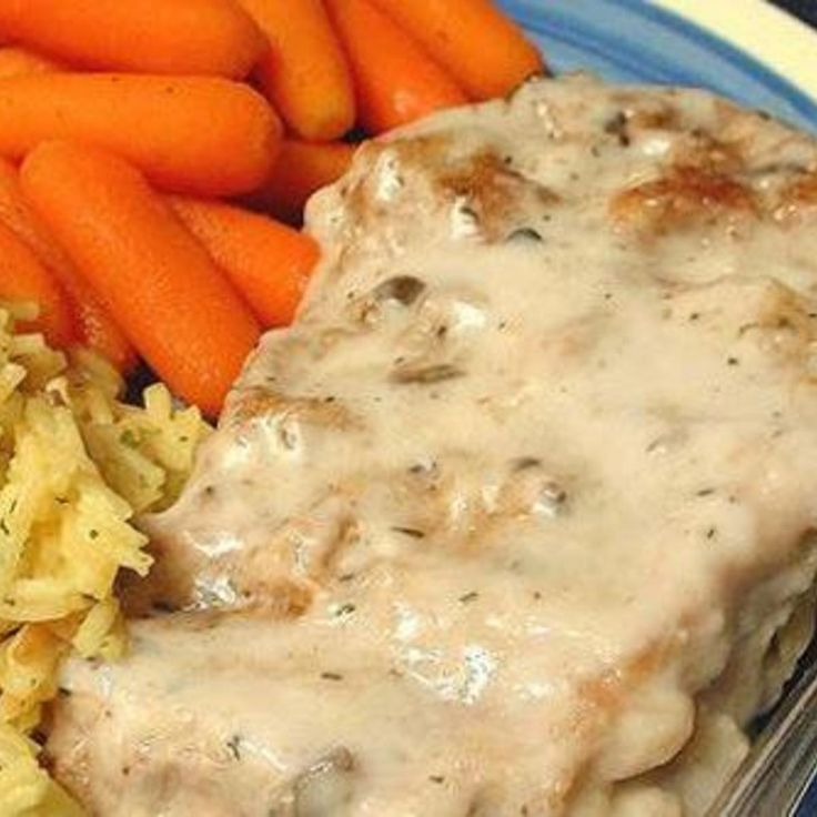 This was a throw together meal when I couldn't figure out what to do with the pork chops I had just bought.  I wanted an easy meal that was ready when I got home.  I added some rice and carrots as a side dish to go along with these tasty pork chops.