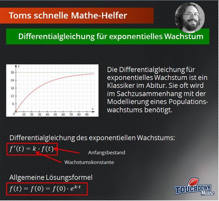 Toms schnelle Mathe-Helfer: Differentialgleichung für exponentielles Wachstum. Praktisch für die Abiturvorbereitung - endlich Mathe verstehen mit Touchdown Mathe!