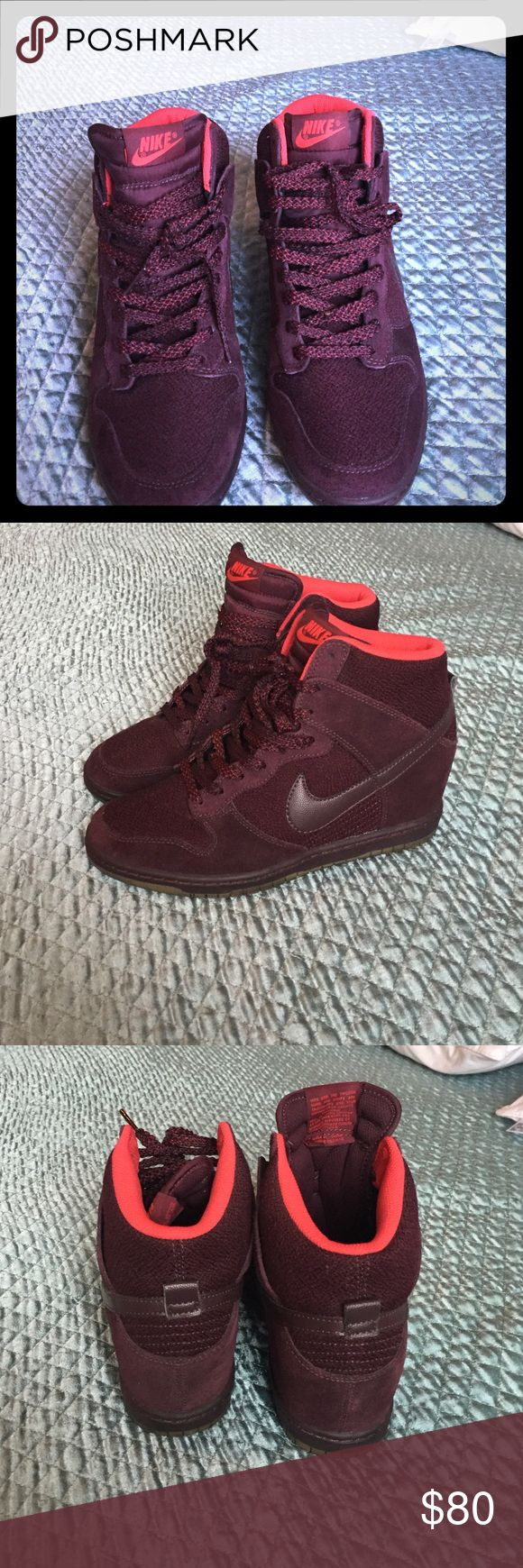 Nike dunk wedge sneaker Burgundy nike dunks, like new, only wore few times. Size 8 1/2 Nike Shoes Athletic Shoes