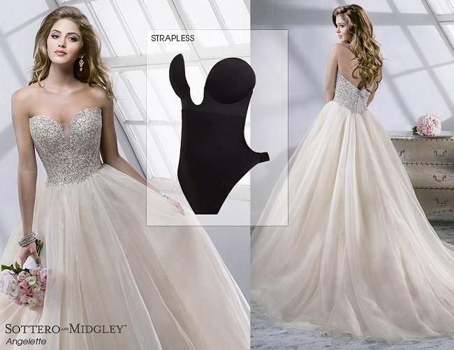 Elegant For a strapless wedding dress try a strapless long line bra underneath
