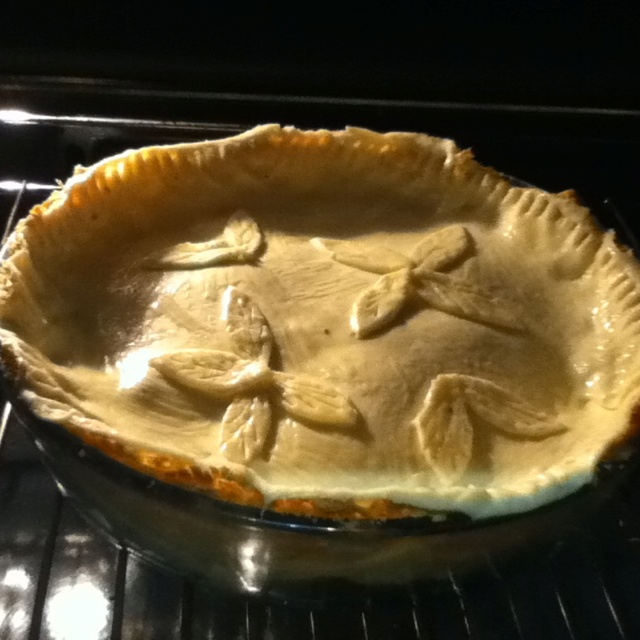 Egg and Bacon Pie- just placed in the oven