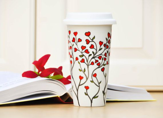 White Ceramic Travel Mug  Red hearts eco cup  by PictureInADream, $30.00