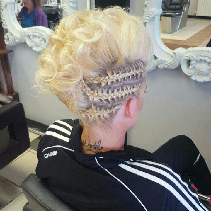 Curled mokawk with plaits, a funky upstyle perfect for a night out