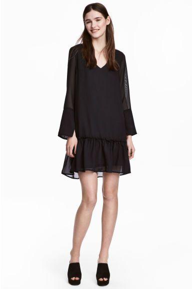 Chiffon jurk - Zwart - DAMES | H&M NL