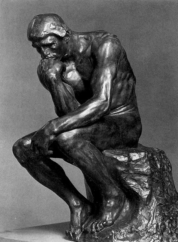 "Rodin - The Thinker - Conceived 1880 (enlarged 1902-4); cast 1925 by Alexis Rudier Foundry. The figure was intended to represent Italian poet Dante Alighieri pondering The Divine Comedy, his epic story of Paradise and Inferno.   However, in 1889 Rodin exhibited the sculpture independently of The Gates, giving it the title ""The Thinker"", and in 1902 he embarked on this larger version"